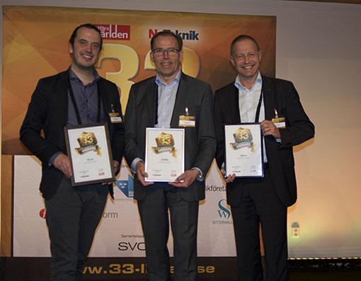 Vinnaren AMRA under kvällens final av 33-listan på Münchenbryggeriet. AMRA's grundare, Olof Dahlqvist Leinhard och Magnus Borga samt VD Tommy Johansson.