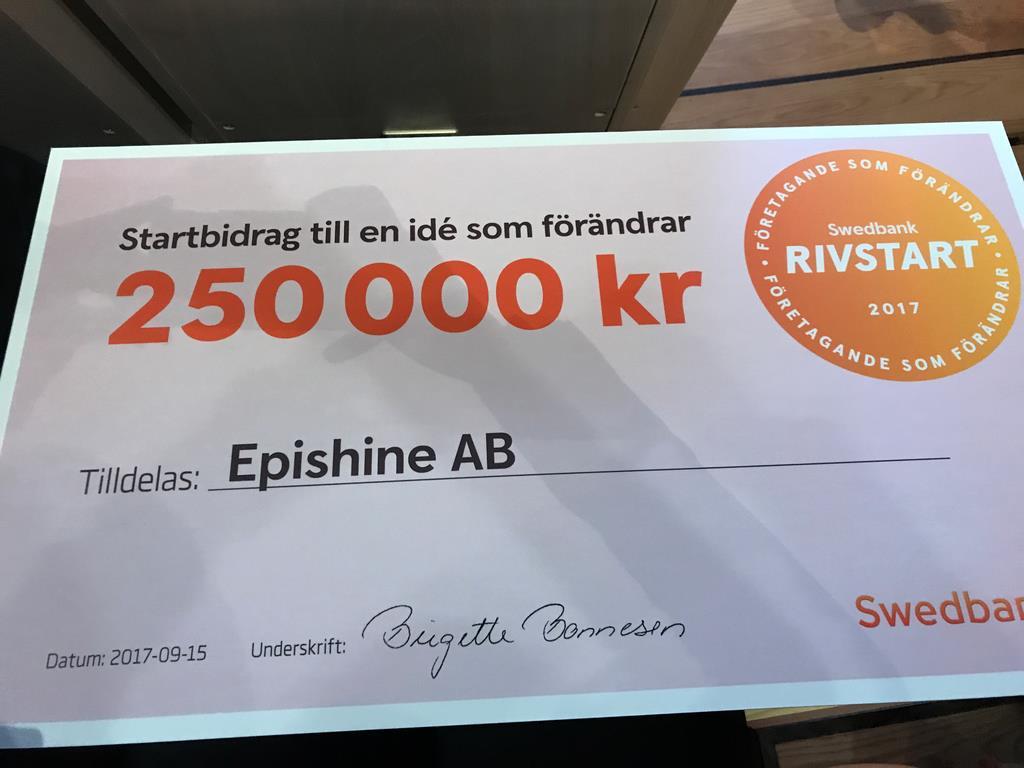 Epishine  en av vinnarna i Swedbank Rivstart 2017